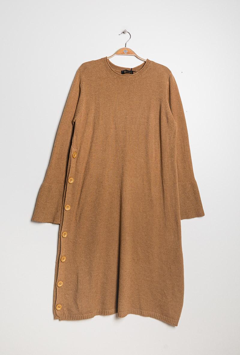maxi abito con bottoni laterali Cammello<br />(<strong>Gg luxe</strong>)