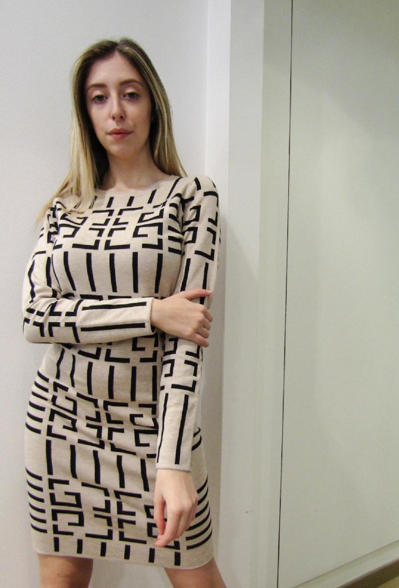 abito in maglia aderente stampato Beige/nero<br />(<strong>Impression</strong>)