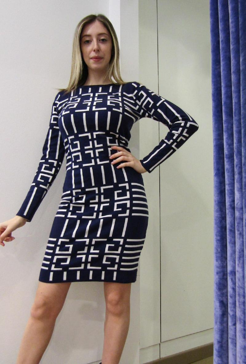 abito in maglia aderente stampato Blu/bianco<br />(<strong>Impression</strong>)