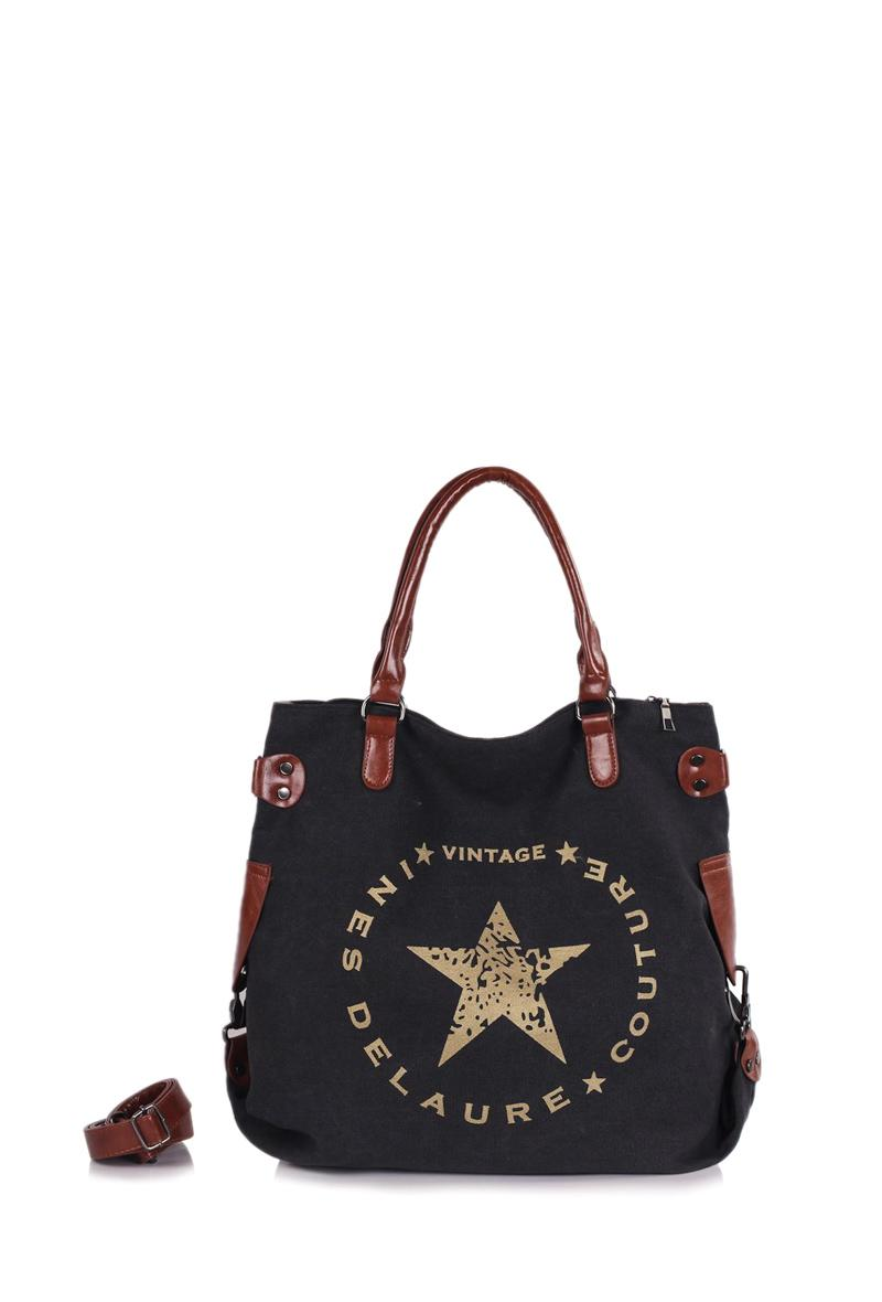 Borsa grande in canvas Nero<br />(<strong>Ines delaure</strong>)