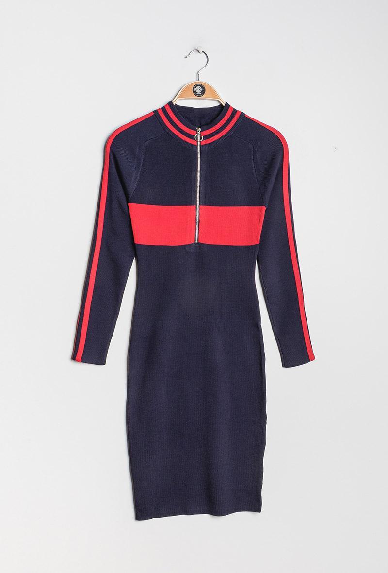 abito in maglia aderente profilato rosso Blu