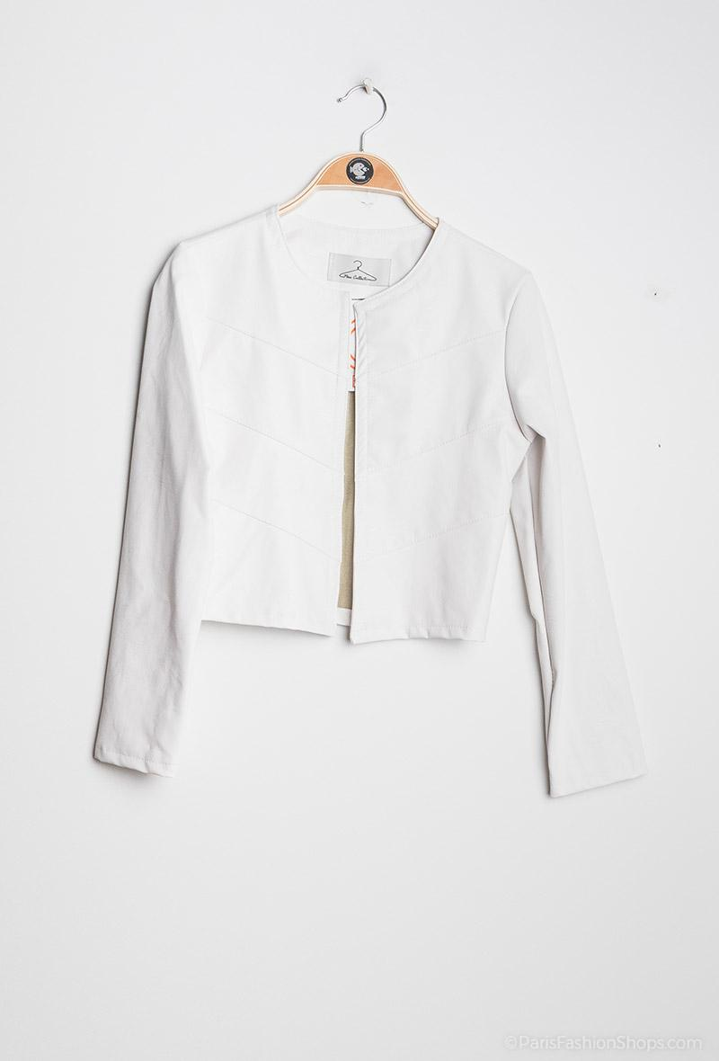 Giacchina corta in ecopelle Bianco<br />(<strong>Kzb</strong>)