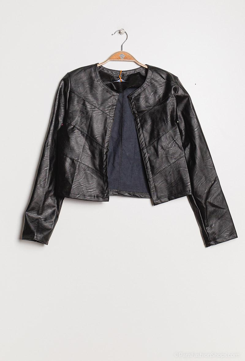 Giacchina corta in ecopelle Nero<br />(<strong>Kzb</strong>)