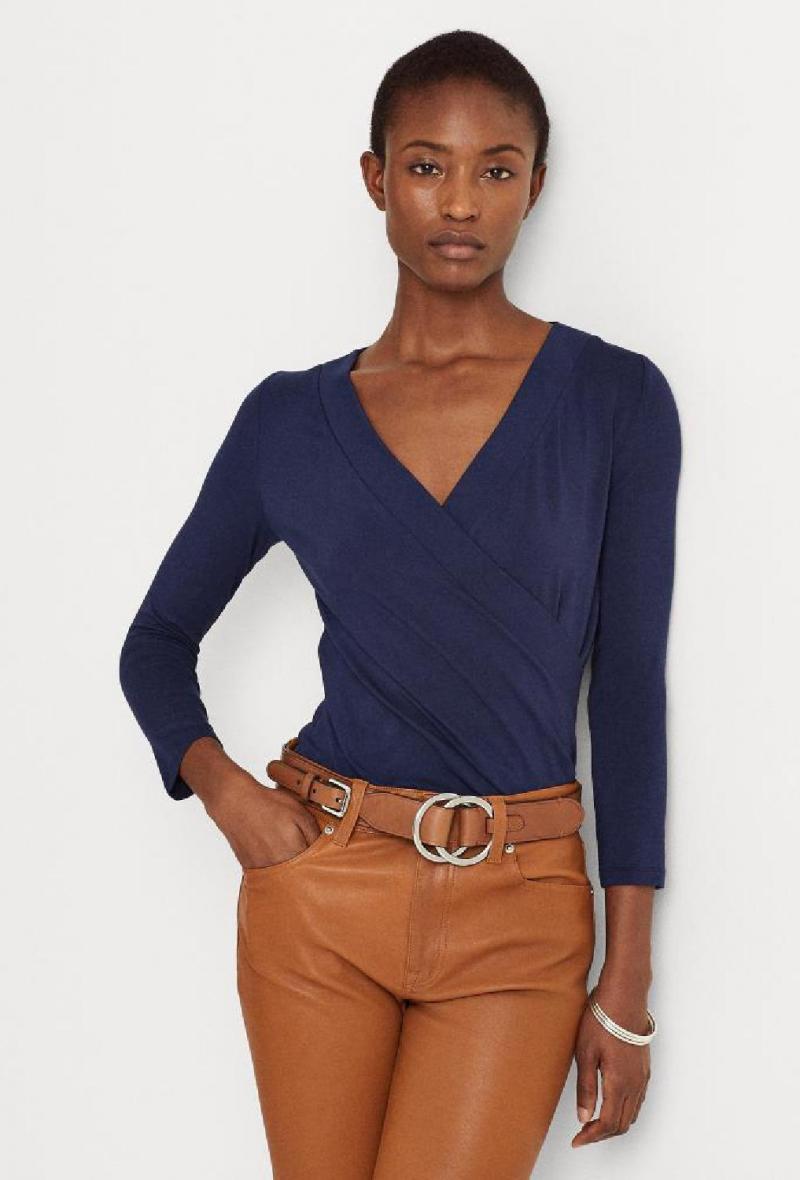 Maglia in jersey con scollo ad incrocio Blu<br />(<strong>Lauren ralph lauren</strong>)
