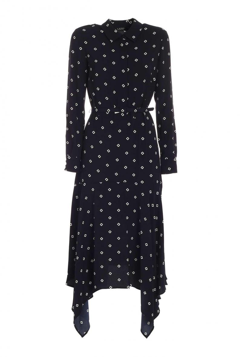 printed silky crepe dress Blu/bianco<br />(<strong>Lauren ralph lauren</strong>)