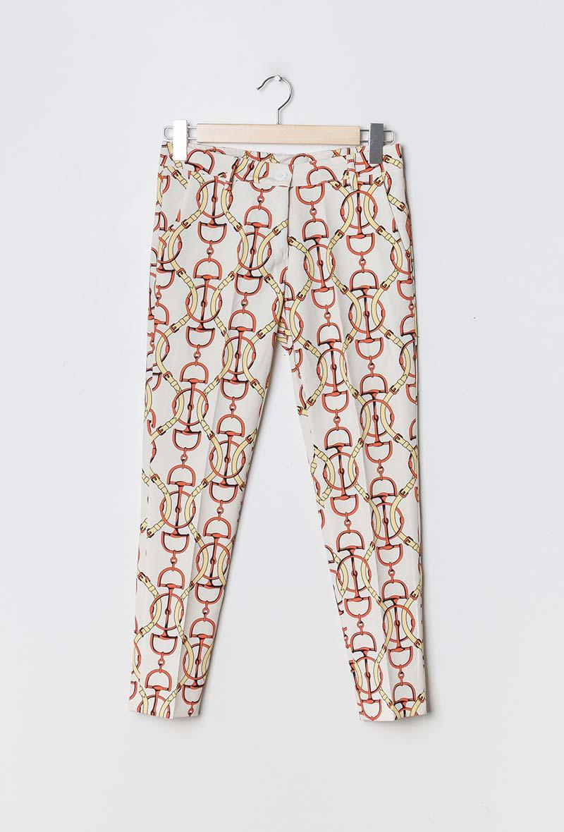 Pantalone a sigaretta stampa equestre Bianco<br />(<strong>Mar&co</strong>)