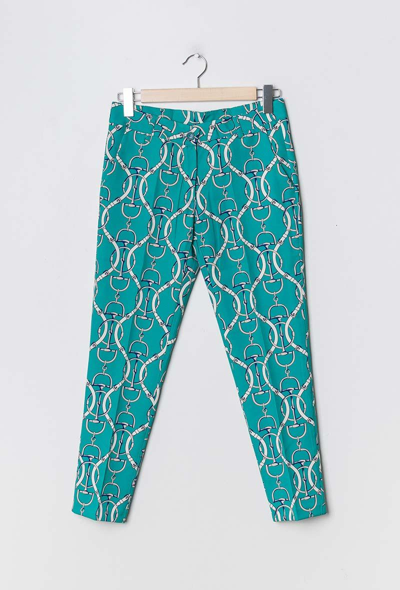 Pantalone a sigaretta stampa equestre Turchese<br />(<strong>Mar&co</strong>)