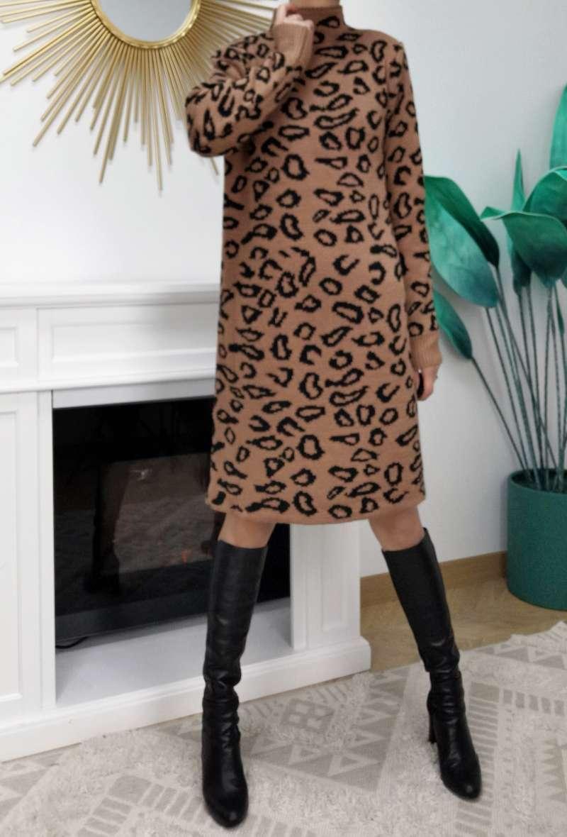 abito in maglia stampa leopardo Ruggine/nero