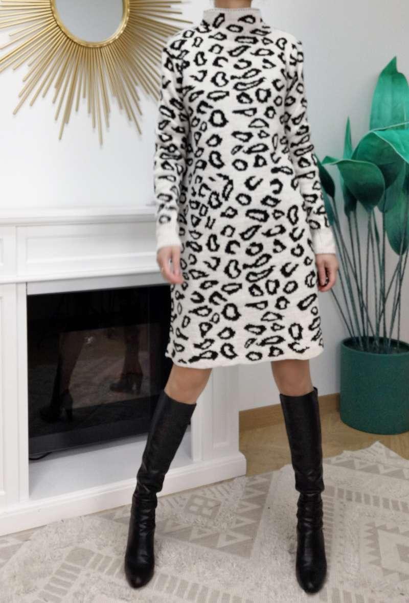 abito in maglia stampa leopardo Bianco/nero