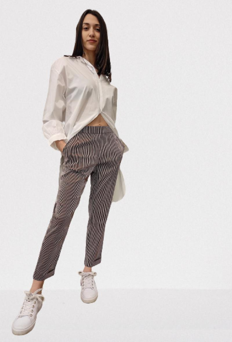 Pantalone gessato con elastico in vita Marrone/bianco<br />(<strong>Nenè</strong>)