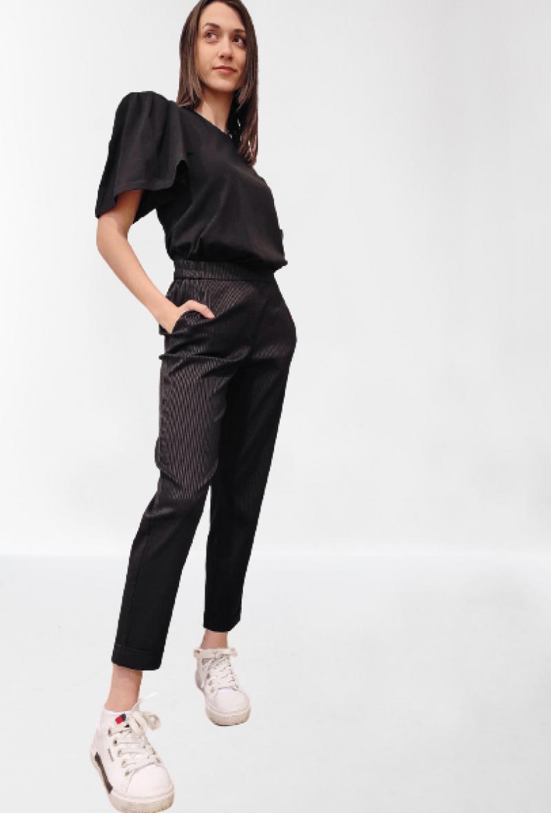 Pantalone gessato con elastico in vita Nero<br />(<strong>Nenè</strong>)