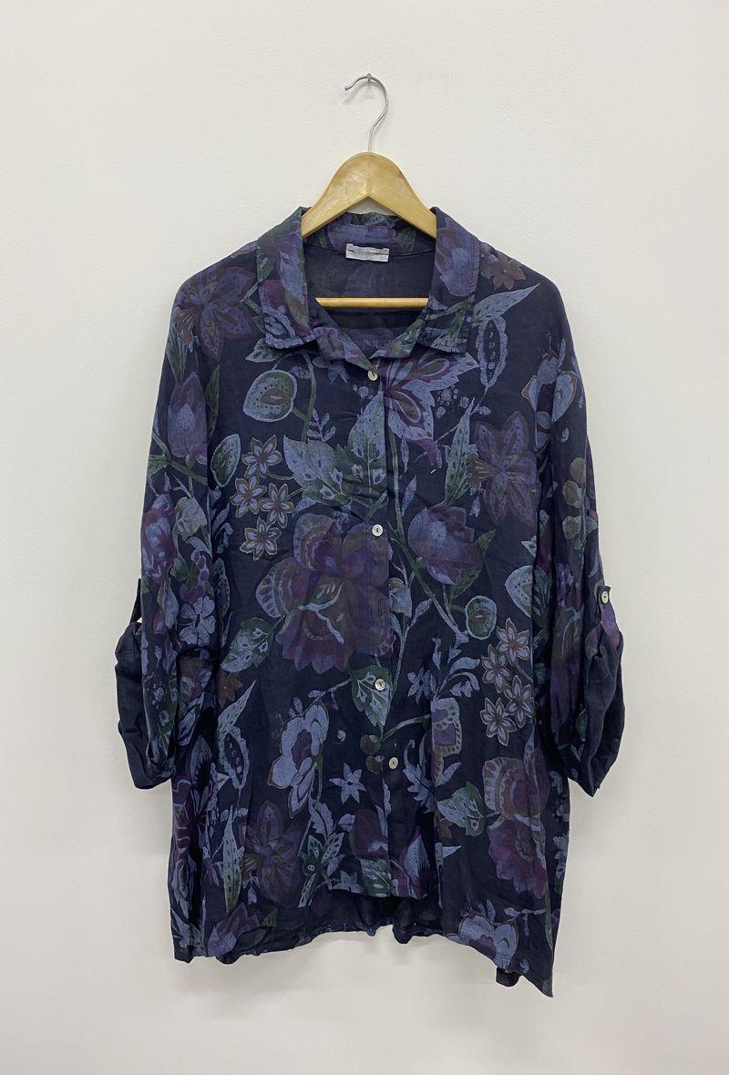 Camicia stampata in lino Blu<br />(<strong>Ornella paris</strong>)