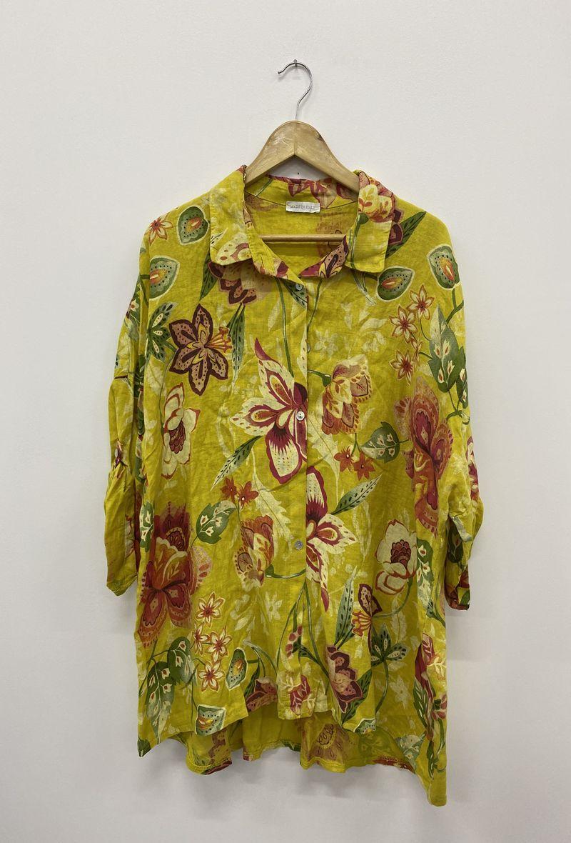 Camicia stampata in lino Mostarda<br />(<strong>Ornella paris</strong>)