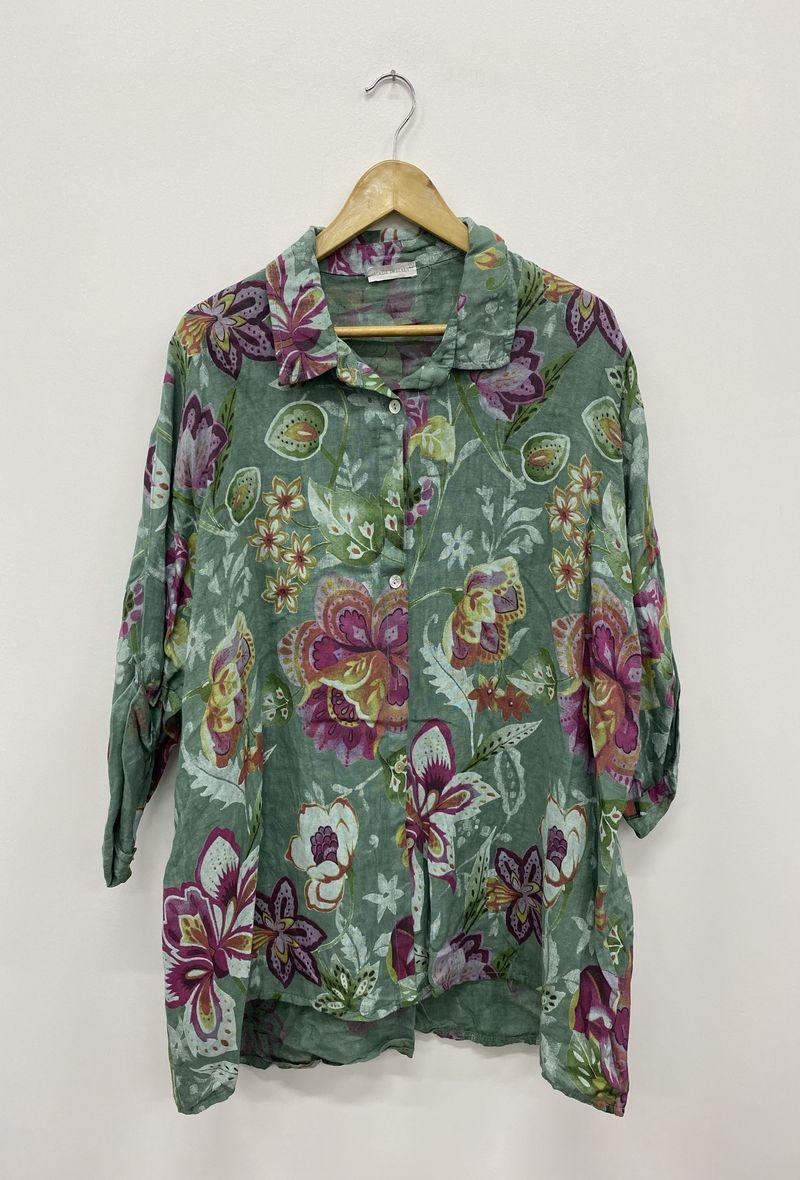 Camicia stampata in lino Oceano<br />(<strong>Ornella paris</strong>)