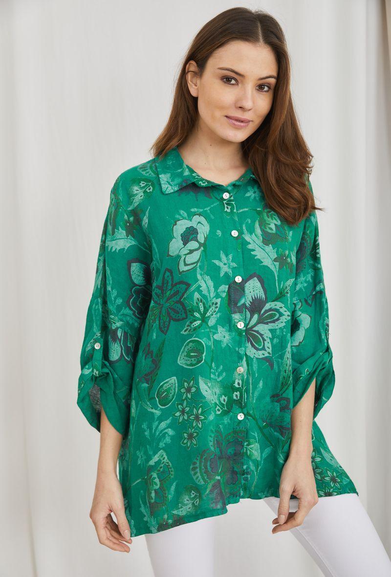 Camicia stampata in lino Verde<br />(<strong>Ornella paris</strong>)