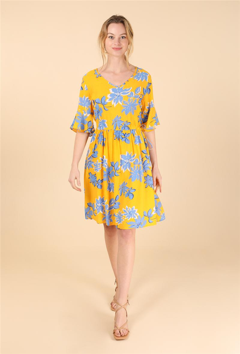 Abito in cotone stampa fiori Giallo<br />(<strong>Sophyline</strong>)