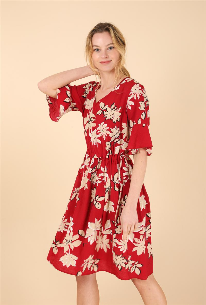 Abito in cotone stampa fiori Rosso<br />(<strong>Sophyline</strong>)