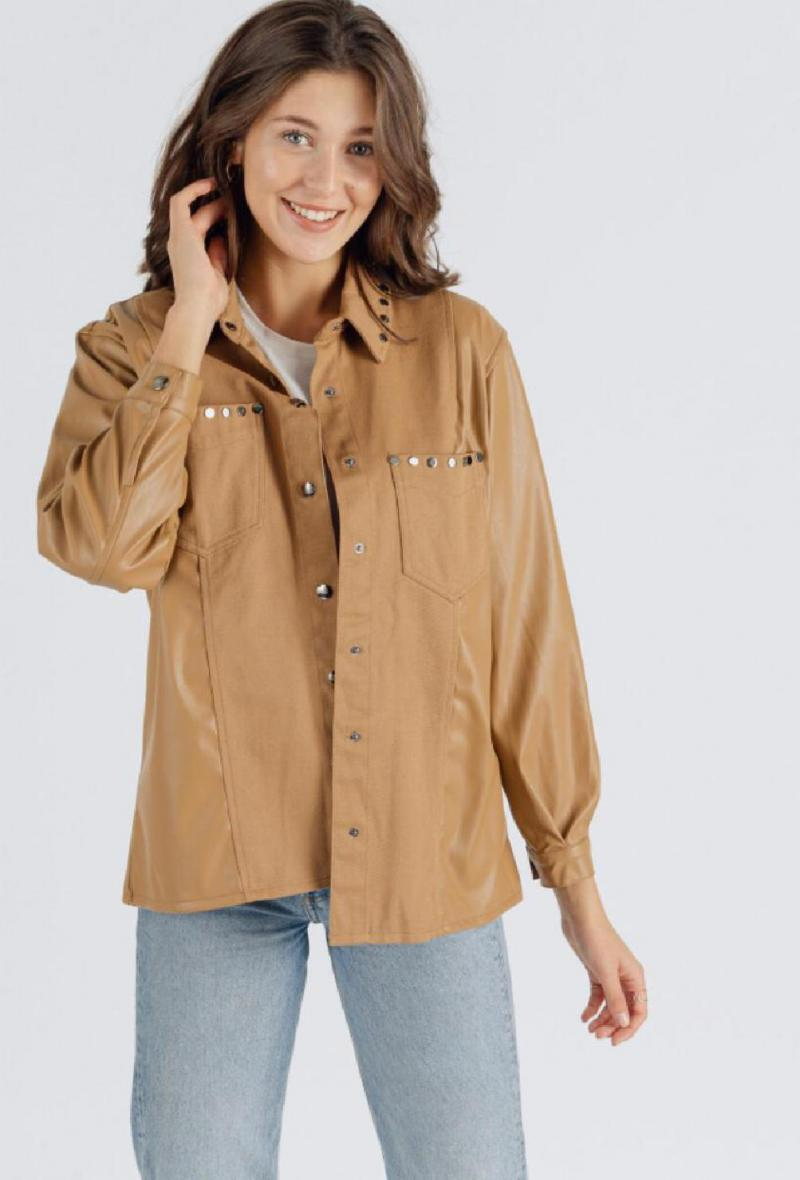 Giacca camicia in cotone ed ecopelle Cammello<br />(<strong>Sweewe</strong>)