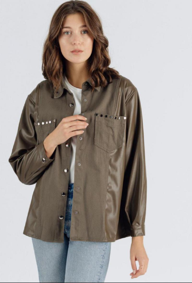 Giacca camicia in cotone ed ecopelle Khaki<br />(<strong>Sweewe</strong>)
