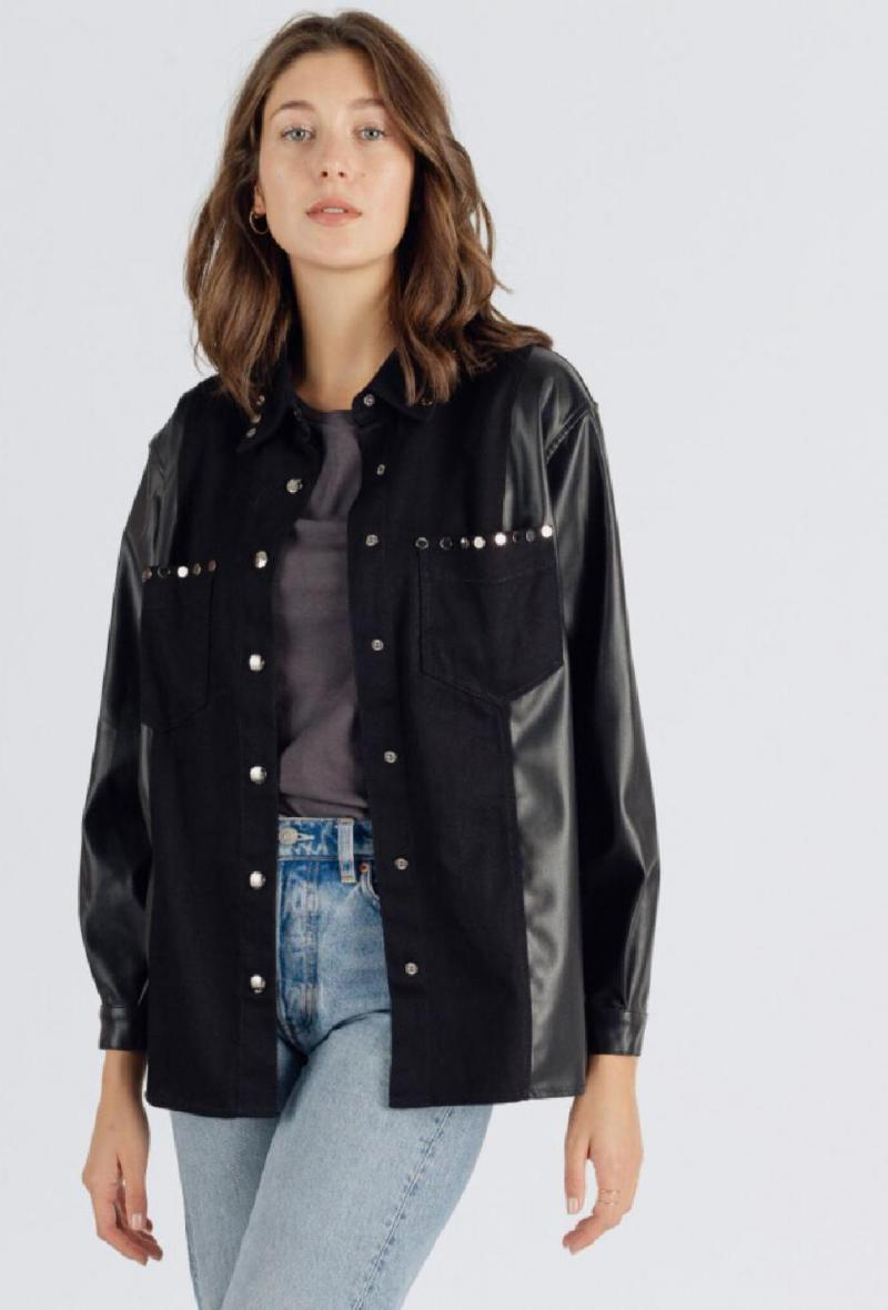Giacca camicia in cotone ed ecopelle Nero<br />(<strong>Sweewe</strong>)
