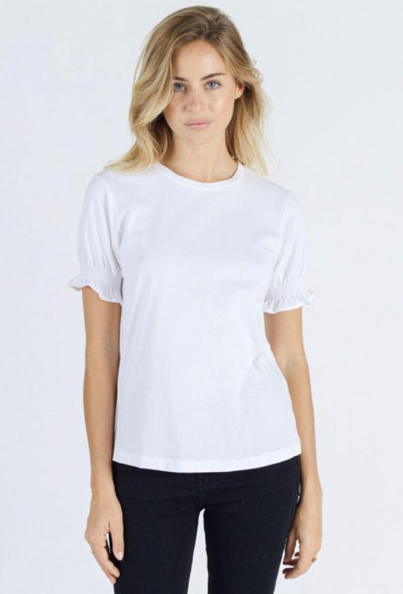 T shirt con maniche arricciate Bianco<br />(<strong>Sweewe</strong>)