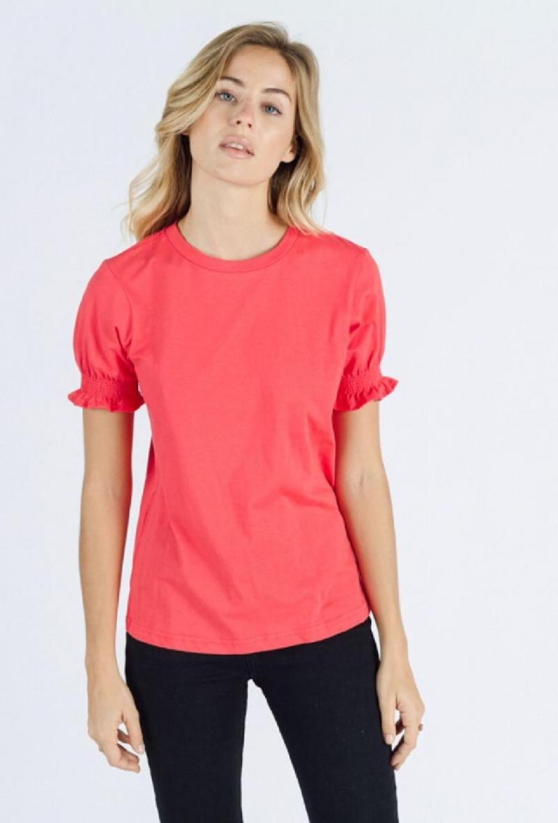 T shirt con maniche arricciate Rosso<br />(<strong>Sweewe</strong>)