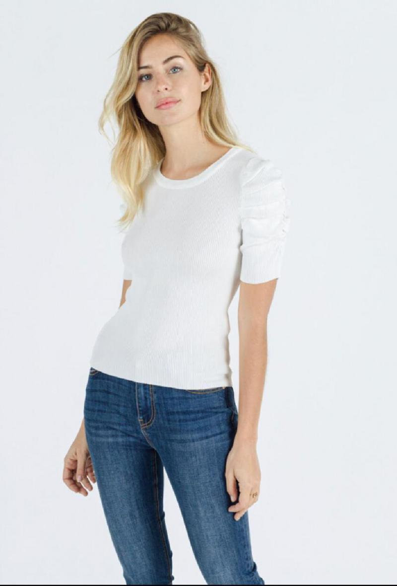 maglia a costine con maniche a sbuffo Bianco<br />(<strong>Sweewe</strong>)