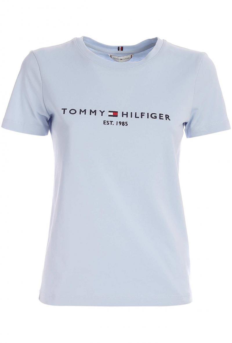 T-shirt con ricamo a contrasto Celeste<br />(<strong>Tommy hilfiger</strong>)