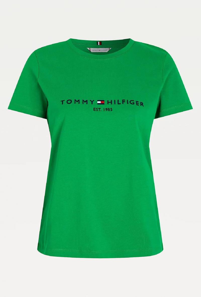 T shirt con ricamo a contrasto Verde<br />(<strong>Tommy hilfiger</strong>)