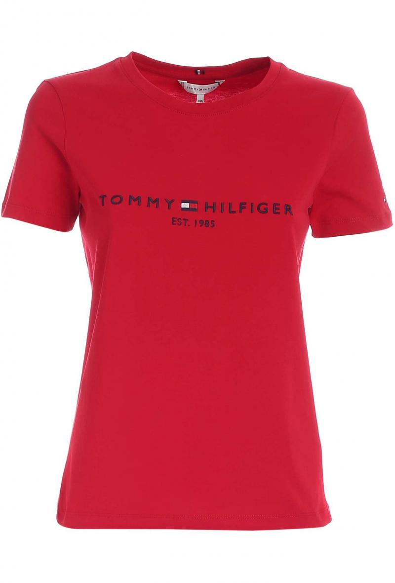 T-shirt con ricamo a contrasto Rosso<br />(<strong>Tommy hilfiger</strong>)