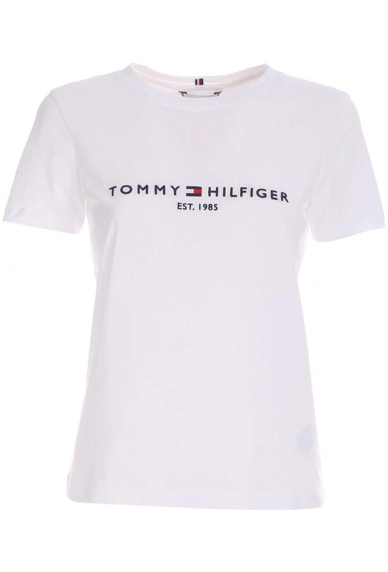 t-shirt tommy hilfiger con ricamo a contrasto Bianco