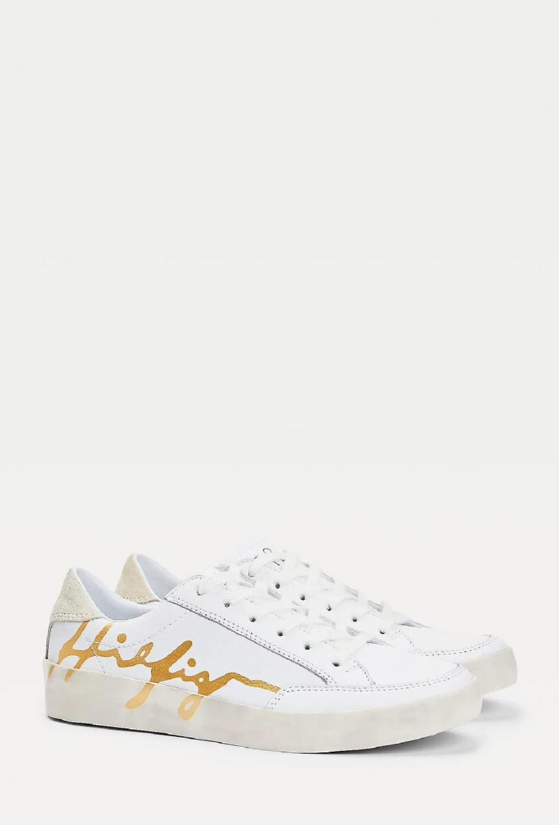 Sneakers in pelle con logo firma Bianco<br />(<strong>Tommy hilfiger</strong>)