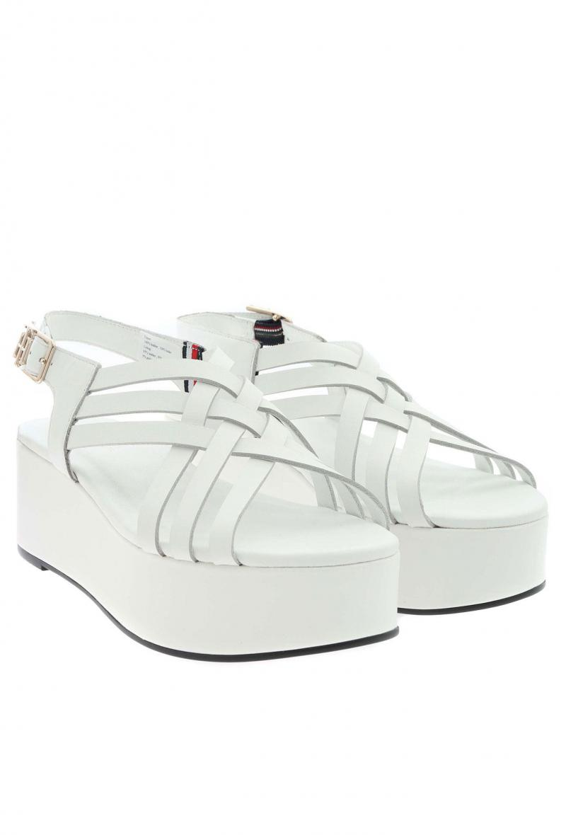 Sandali in pelle con zeppa Bianco<br />(<strong>Tommy hilfiger</strong>)