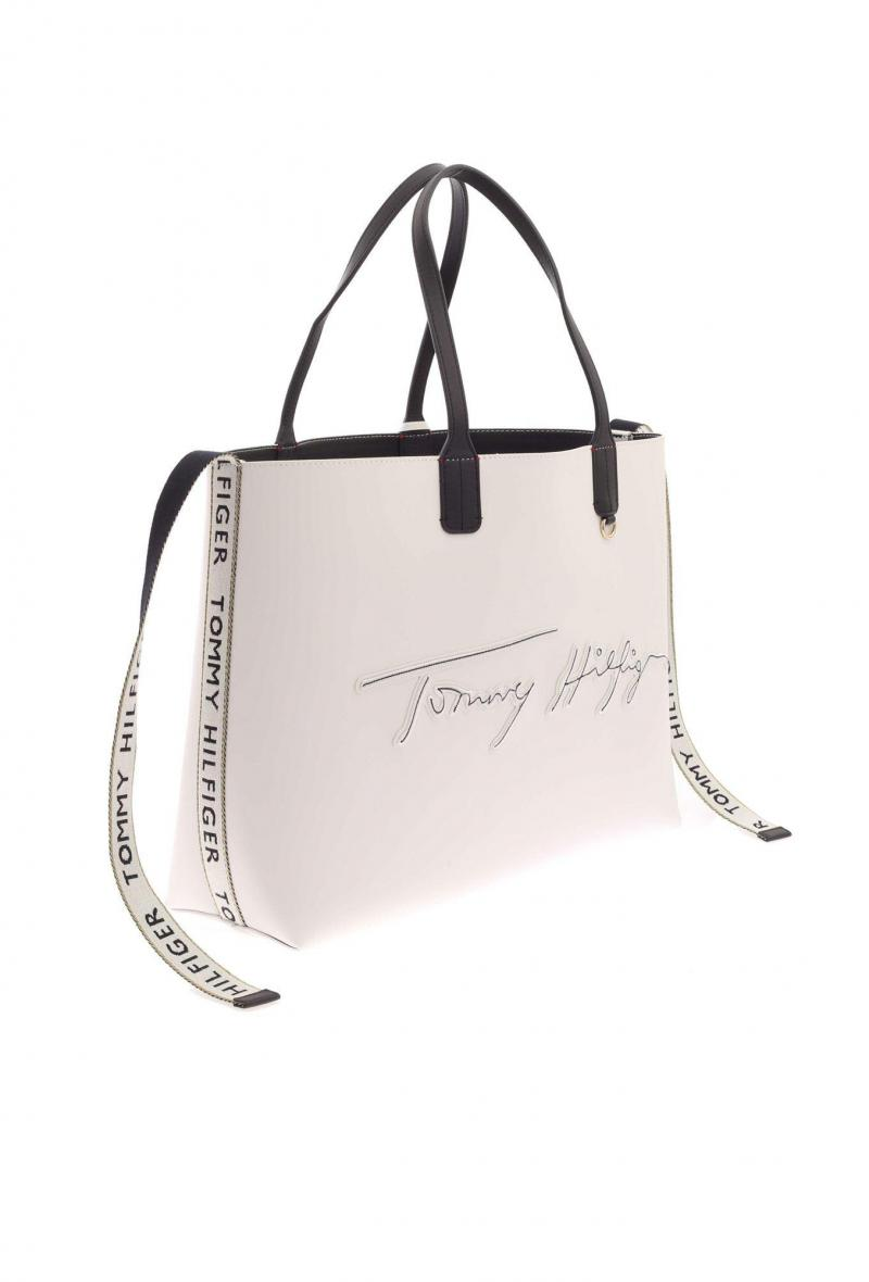 iconic tommy tote signature Bianco