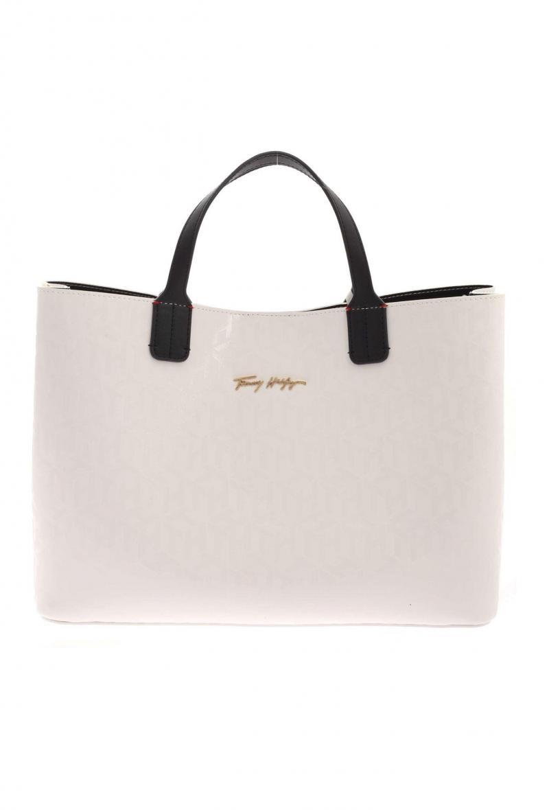 iconic tommy satchel mono Bianco