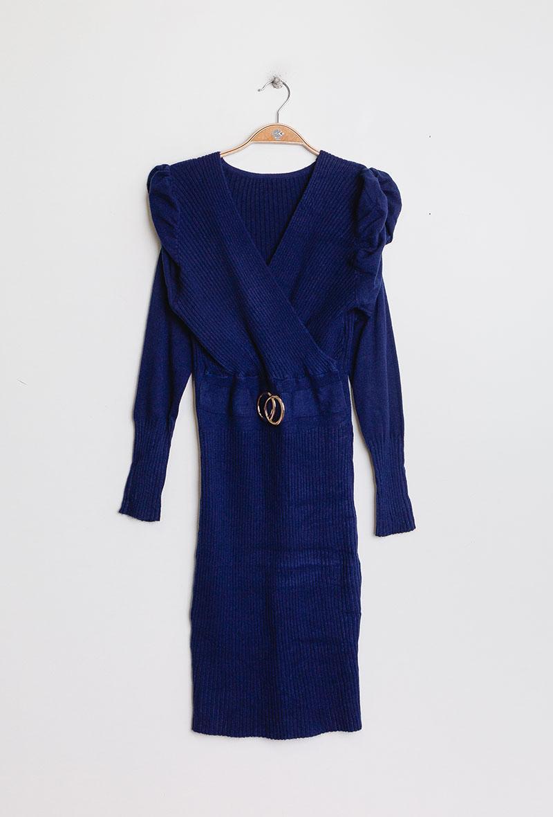 abito in maglia aderente con maniche a sbuffo Blu