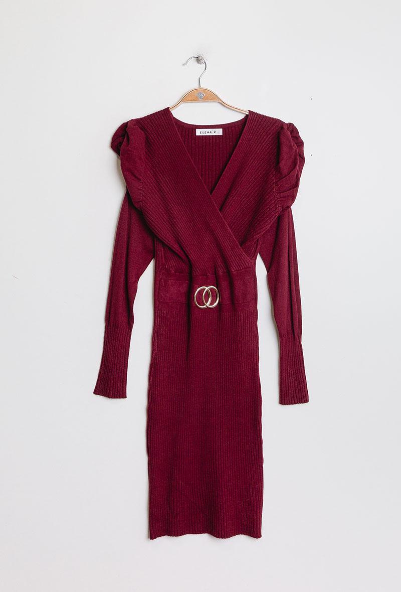 abito in maglia aderente con maniche a sbuffo Bordeaux