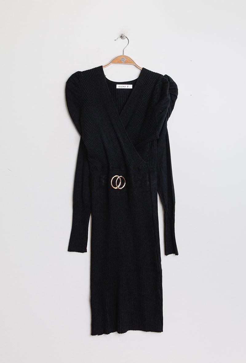 abito in maglia aderente con maniche a sbuffo Nero<br />(<strong>Zoe mode</strong>)