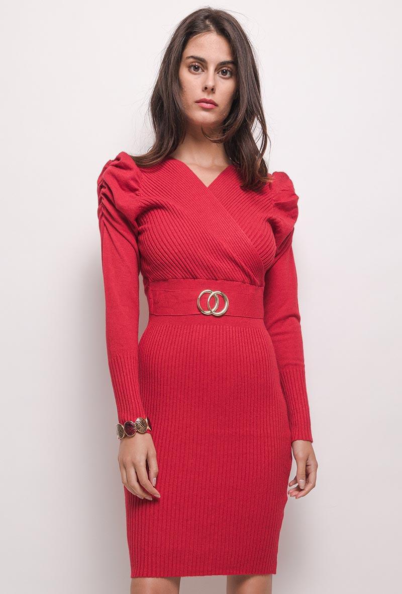 abito in maglia aderente con maniche a sbuffo Rosso