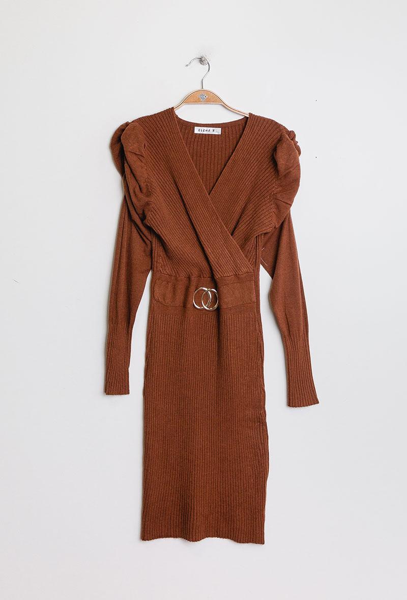abito in maglia aderente con maniche a sbuffo Ruggine